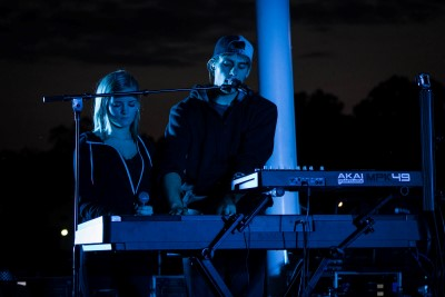 The band, Moment 44, playing live music at Hamilton's RiversEdge Amphitheater